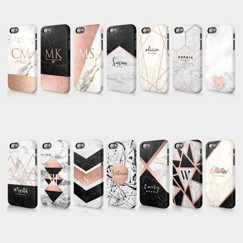 Personalised Marble Rose Gold Glitter Initials Custom Hard Phone Case For Iphone