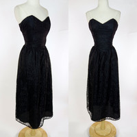 1980s strapless lace dress, black fit and flare A line tea length formal, prom, event, party dress, Large