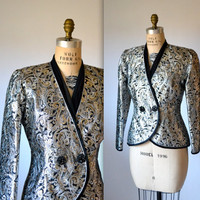 Vintage Jacquard Metallic Jacket Size Medium// Vintage Silver Gold Metallic Jacket Baroque Brocade Size Medium