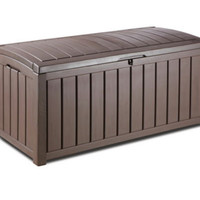 Plastic Storage Deck Box With Floor Panel Outdoor Patio Furniture Brown Finish