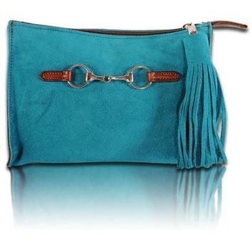Suede Snaffle Clutch with Suede Tassel | Azure
