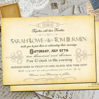 "50 Wedding Invitation Cards - Celeste Vintage Personalized 5""x7"""