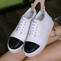 CHANEL Old Skool Women Fashion Leather Flats Shoes