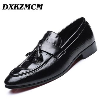 DXKZMCM 2018 Men Dress Shoes Quality Men Oxford Shoes Lace-up Brand Men Formal Shoes Men Leather Wedding Shoes