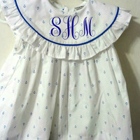 Pre SALE Summer Monogram Dress, Girls Summer Dress, casual summer dresses girls, FREE Personalization 3m, 6m,12m,2T,3T,4T,5T, 6T