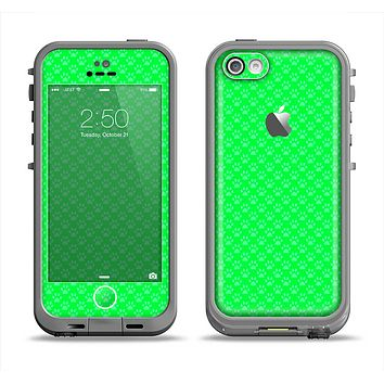 The Subtle Green Paw Prints Apple iPhone 5c LifeProof Fre Case Skin Set