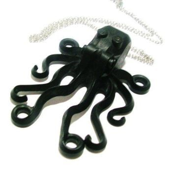 Black Octopus Necklace by Gr0glmann on Etsy