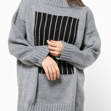 Grey Vertical Striped Long Sleeve Sweater