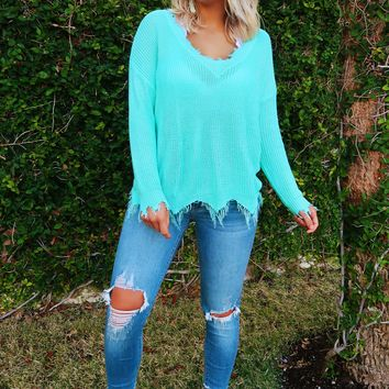 Precious To Me Sweater: Turquoise