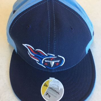 RETRO NEW ERA 5950 TENNESSEE TITANS SKY AND NAVY FLAT BRIM FITTED HAT