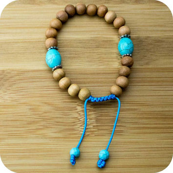 Sandalwood Yoga Beads Bracelet with Turquoise Magnesite