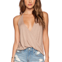 Blue Life Hayley Halter Top in Tan
