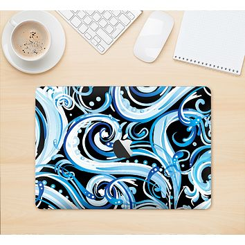 "The Wild Blue Swirly Vector Water Pattern Skin Kit for the 12"" Apple MacBook"