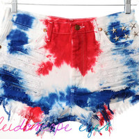 Vintage Wrangler 4TH OF JULY Studded Red White Blue Tie Dye Stars & Stripes Cut Off Shorts L