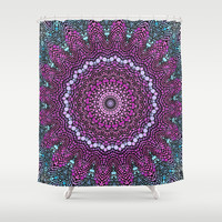 purple and blue kaleidoscope Shower Curtain by Sylvia Cook Photography