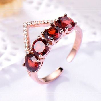 925 Sterling Silver Natural Garnet Ring Gemstone Rings For Women Semi-Precious Stones Round Red Wedding Gift Fine Jewelry