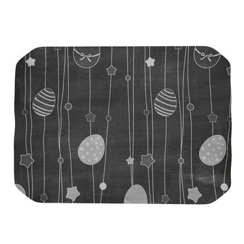 "KESS Original ""Chalk Eggs Black"" Gray Eggs Place Mat"