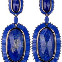 Kaki Gunmetal Baguette Earrings in Lapis - Kendra Scott Jewelry