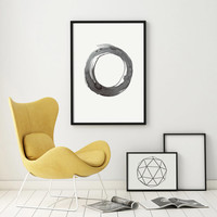 Watercolor Painting Art Abstract Painting Original Art Grey Giclee Minimal Kunst Ink Planet Circle Dot Monochromatic Art Geometric PRINTABLE
