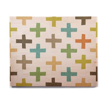 "Daisy Beatrice ""Hipster Crosses"" Multicolor Birchwood Wall Art"