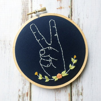 Peace sign wall art Embroidery hoop Funny Embroidery Peace sign decor Peace sign hand Floral embroidery Embroidered hoop art Zen tapestries