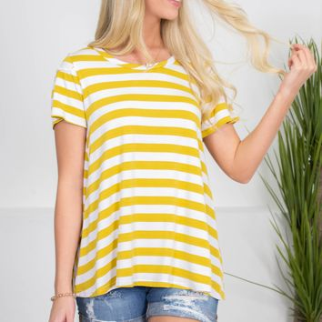 Gold Mustard Striped Top