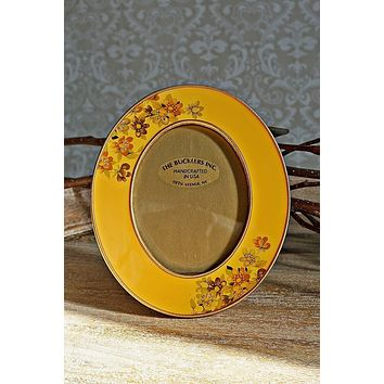 Vintage Handcrafted  Enamel Oval Photo Frame