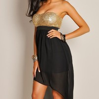 Sexy Strapless Gold Sequin Sweetheart High Low Dress