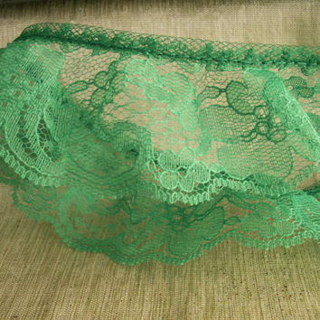5 YARDS,Green Ruffled Lace,Apparel, Sachet Embellishments, Lace Bows,Sewing Trim,Gathered Lace
