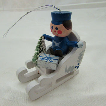 Vintage Christmas Toy Soldier in Sleigh Ornament