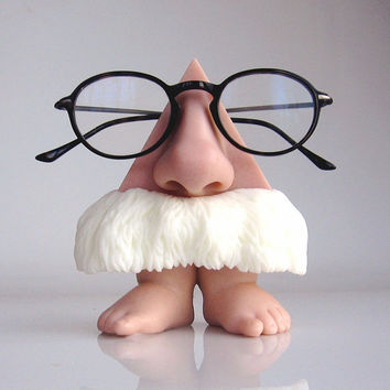 Desktop Eyeglass holder, Standing nose figurine, bare feet, bushy mustache, men accessories, sunglasses stand