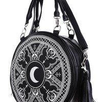 Gothic Occult Henna Round Bag Black Faux Leather Moon Handbag