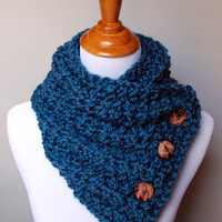 Knit Button Cowl Teal Blue Wool and Acrylic Blend