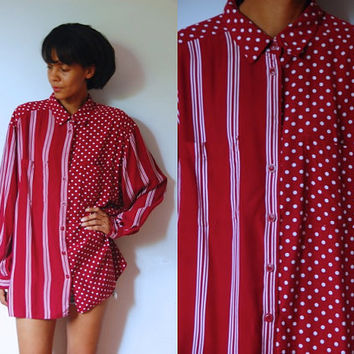 Vtg Polka Dots & Stripes Burgundy White Button Down Collar Shirt