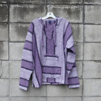 Baja Mexican Hooded Pullover 1980s Vintage Drug Rug Sweatshirt sweater Purple