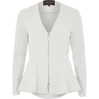 River Island Womens Grey collarless peplum jacket