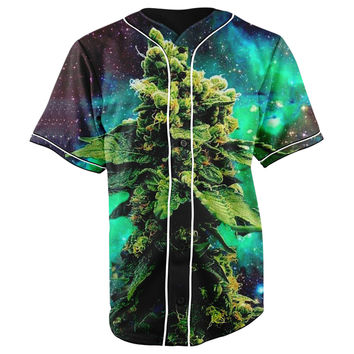 Weed Galaxy Button Up Baseball Jersey