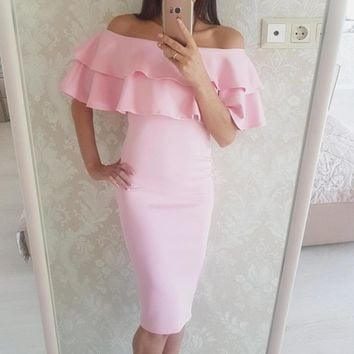 2017 Summer new style fashion women sexy black pink  dresses off the shoulder dress short sleeve Ruffle long dresses