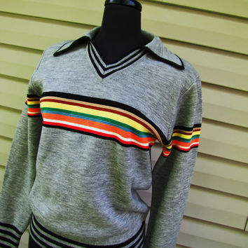 vintage 1970s Gary Reed gray and rainbow wool blend pullover v neck sweater. unisex.