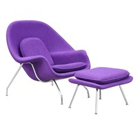 Woom Chair and Ottoman, Purple
