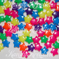 100 Neon STAR Shaped pony Beads 13mm for Kandi Rave by KandyLand