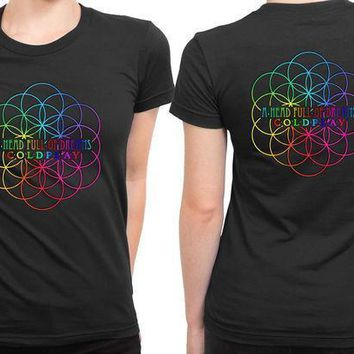 Coldplay A Head Full Of Dreams Logo With Center Title 2 Sided Womens T Shirt