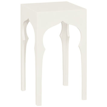 Moroccan Square Lamp Table | White