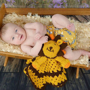 Baby Lovey - Lion Baby Lovey - Baby Blanket - Security blanket - Unique baby blanket - Baby Toy - Baby keepsake - baby shower gift