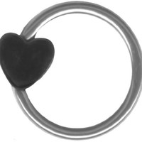 A-Pair of 16 gauge Earring-Small Black Heart Captive Ring-16g 5/16 inch-Cartilage Earring-Tragus Jewelry