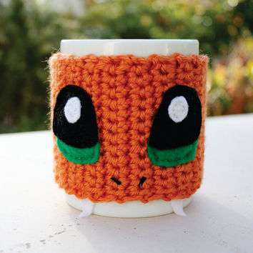 Charmander Inspired Coffee Mug Tea Cup Cozy: Pokemon -ish Japanese Cartoon Crochet Knit Sleeve