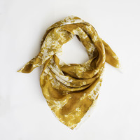 Oversized Silk Scarf in Ochre Paint Print