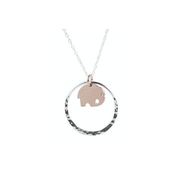24ct Rose Gold Elephant in Sterling Silver Circle Necklace .925