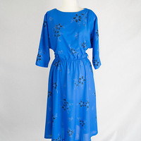 Vintage 80s Dolman Sleeve Asian Floral Dress Full Skirt Blue