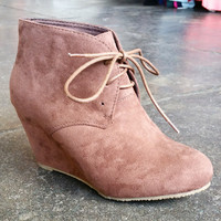A Laceup Wedge Bootie- Chestnut